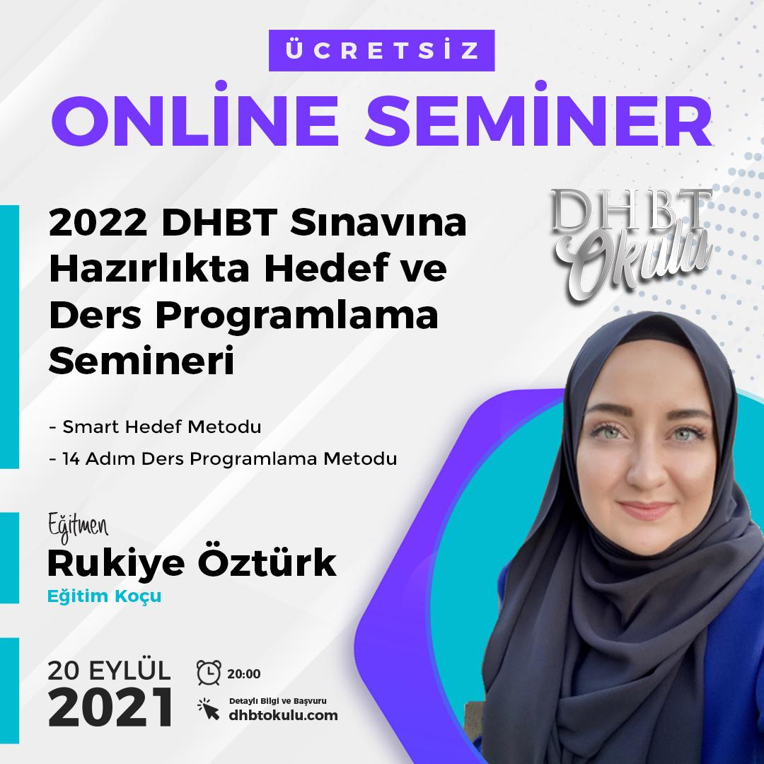 2022 DHBT Sınavına Hazırlıkta Hedef ve Ders Programlama Semineri
